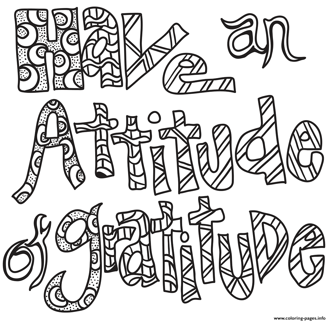 Have An Attitude Of Gratitude coloring pages