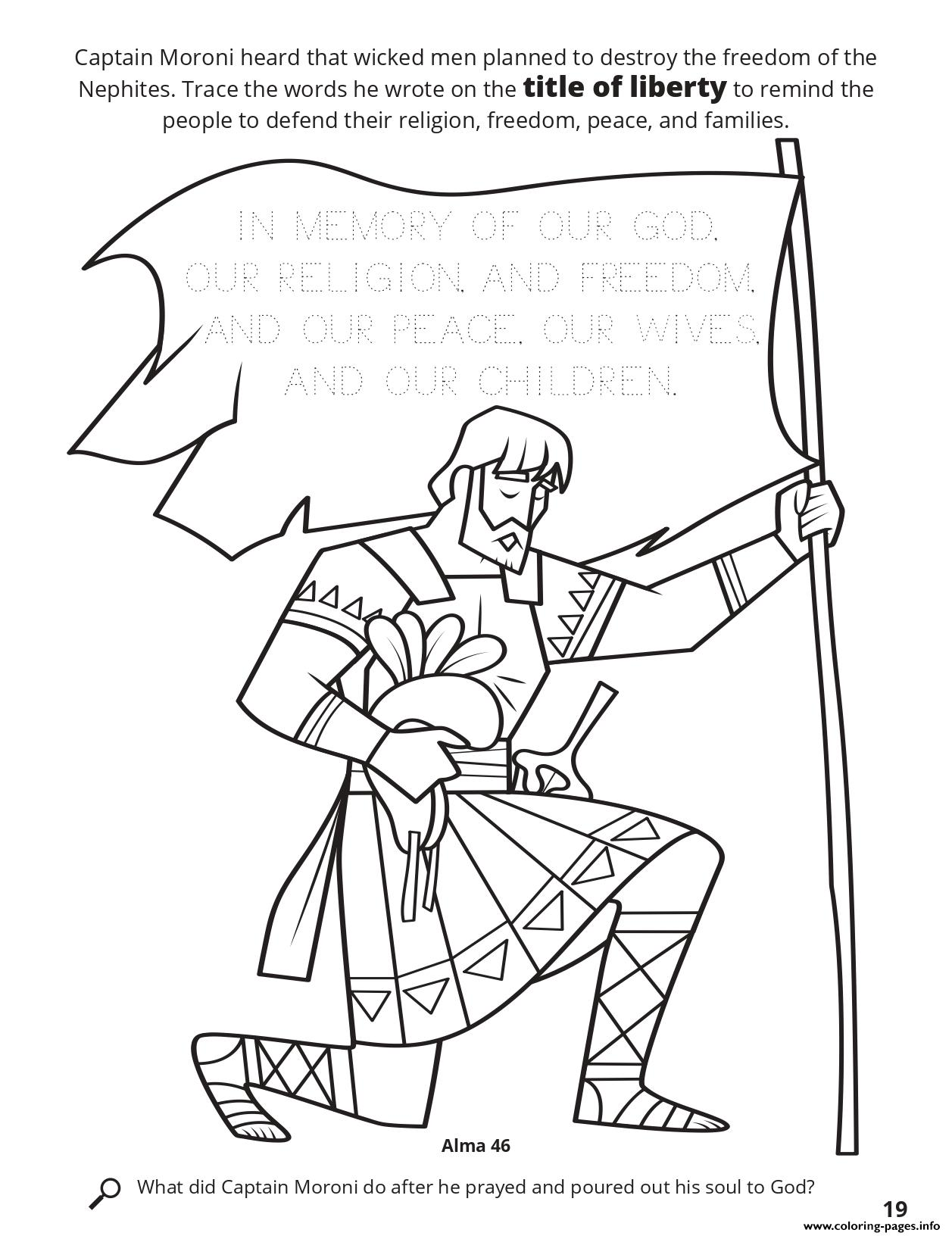 Trace The Words He Wrote On The Title Of Liberty To Remind The People To Defend Their Religion coloring pages
