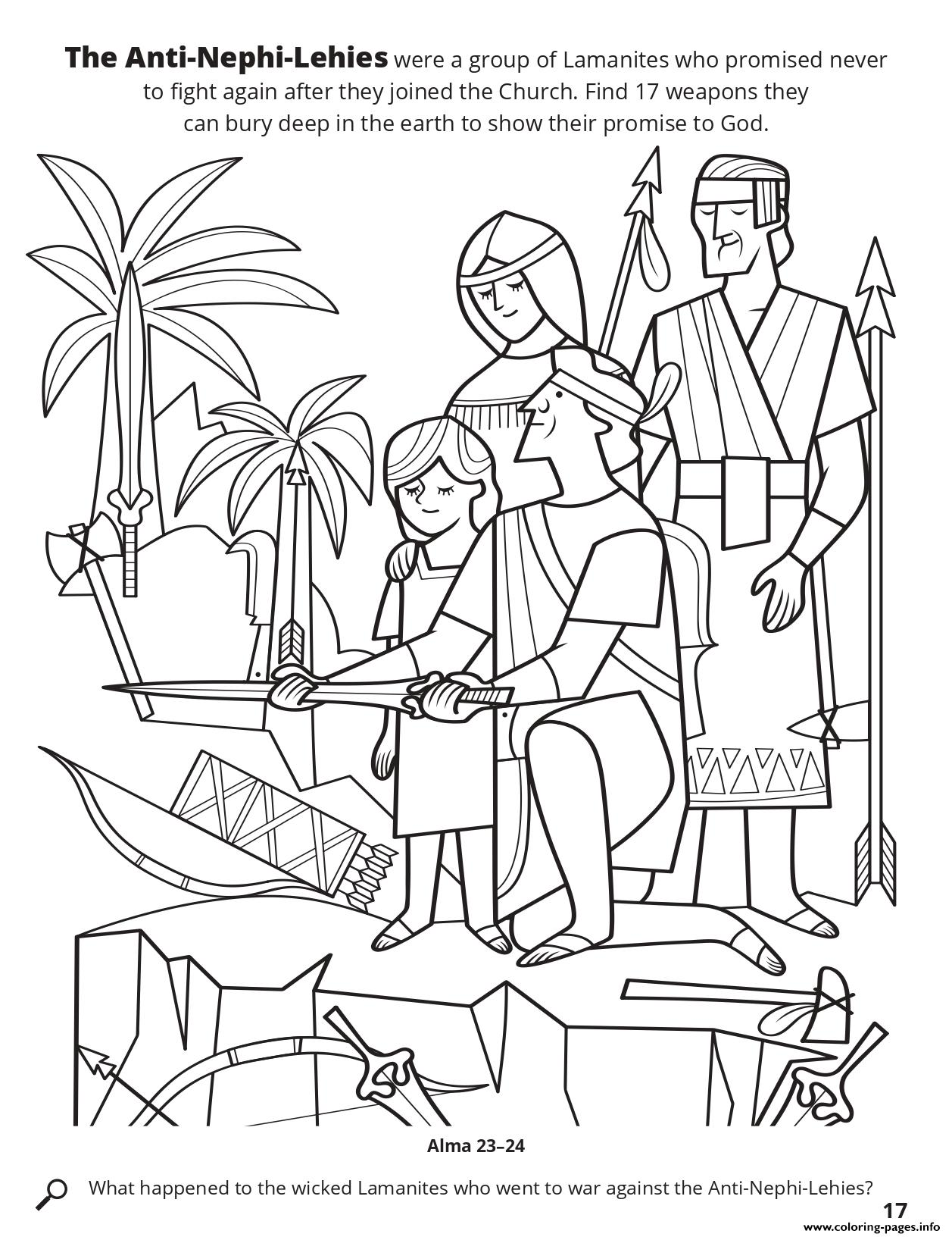 The Anti Nephi Lehies Were A Group Of Lamanites Who Promised Never To Fight Again coloring pages