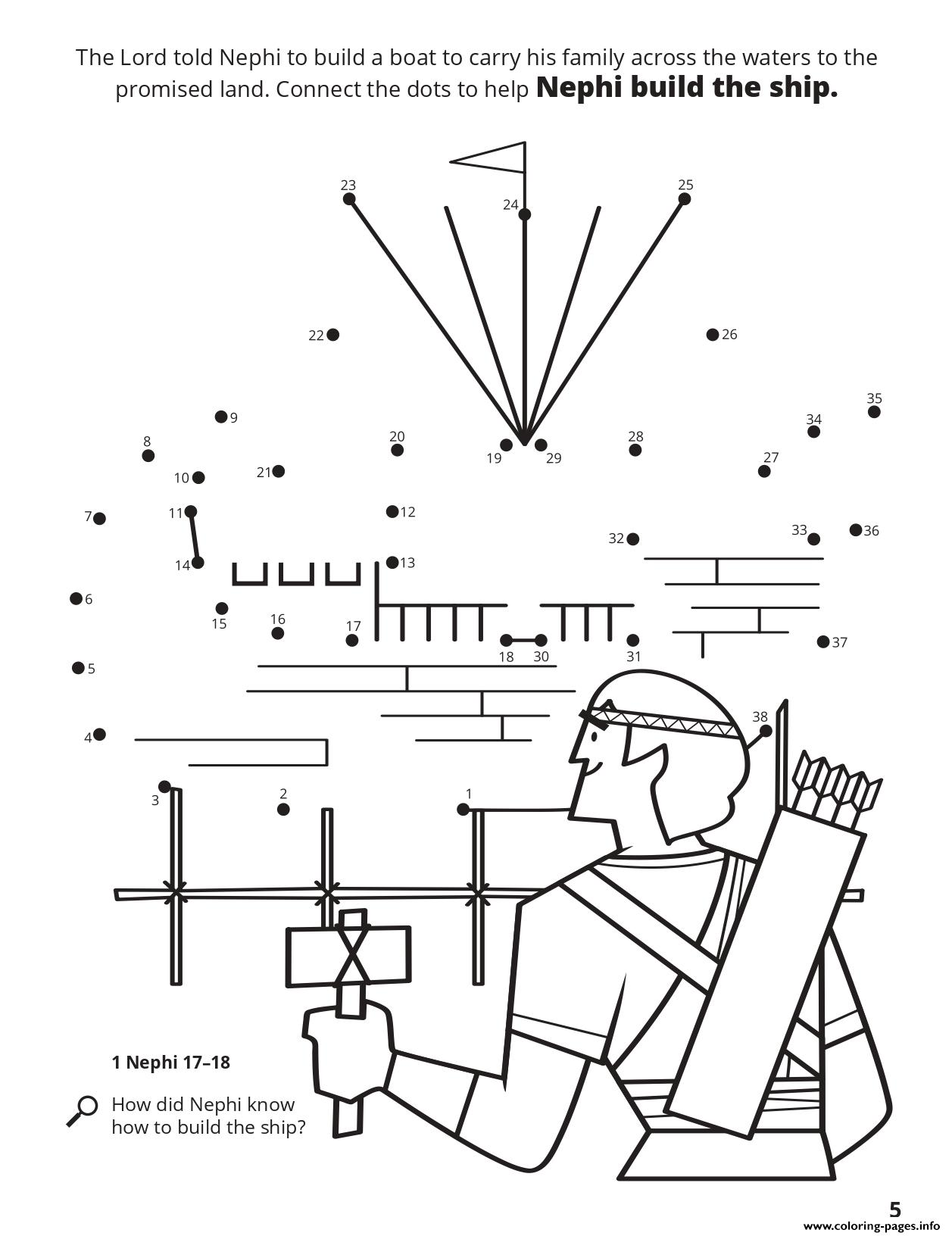 The Lord Told Nephi To Build A Boat coloring pages