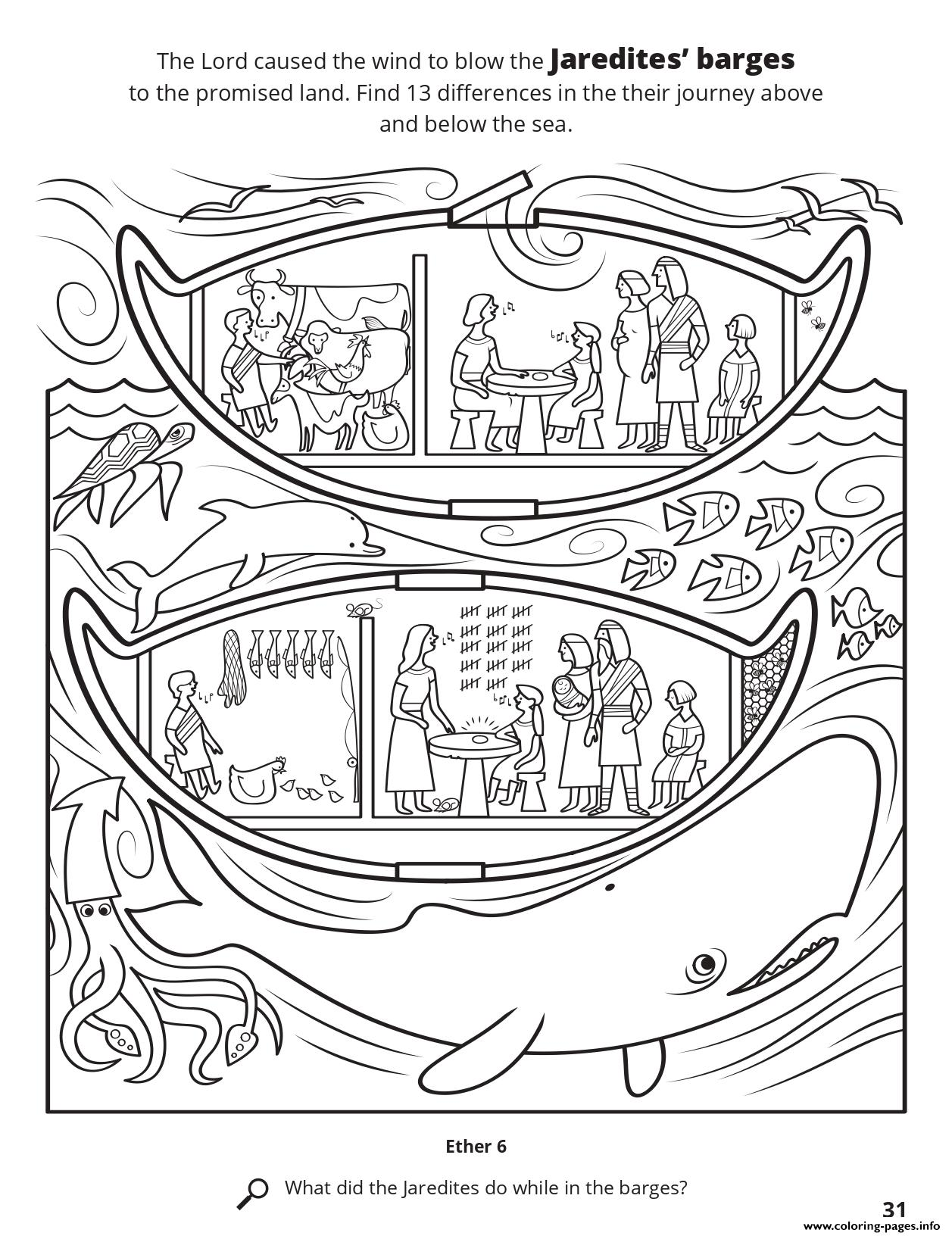 Find 13 Differences In Their Journey Above And Below The Sea coloring pages