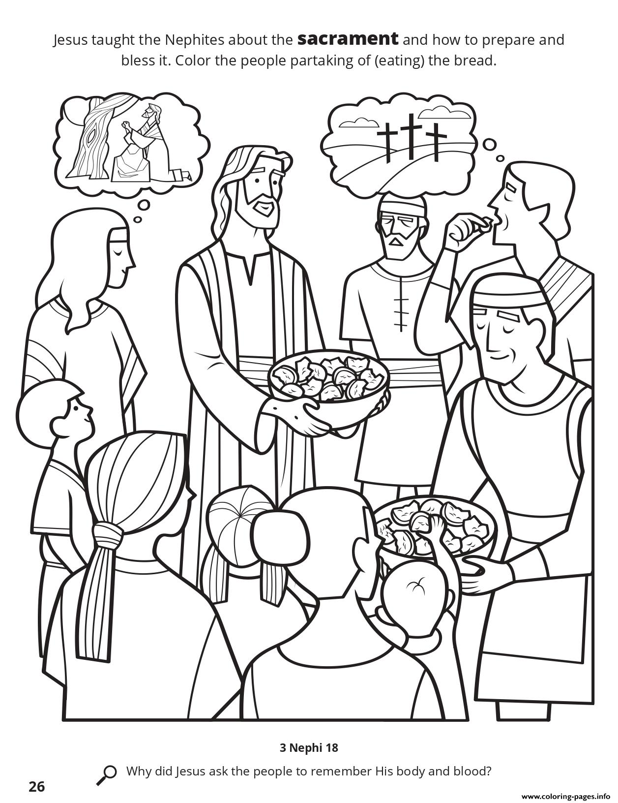 Jesus Taught The Nephites About The Sacrament coloring pages