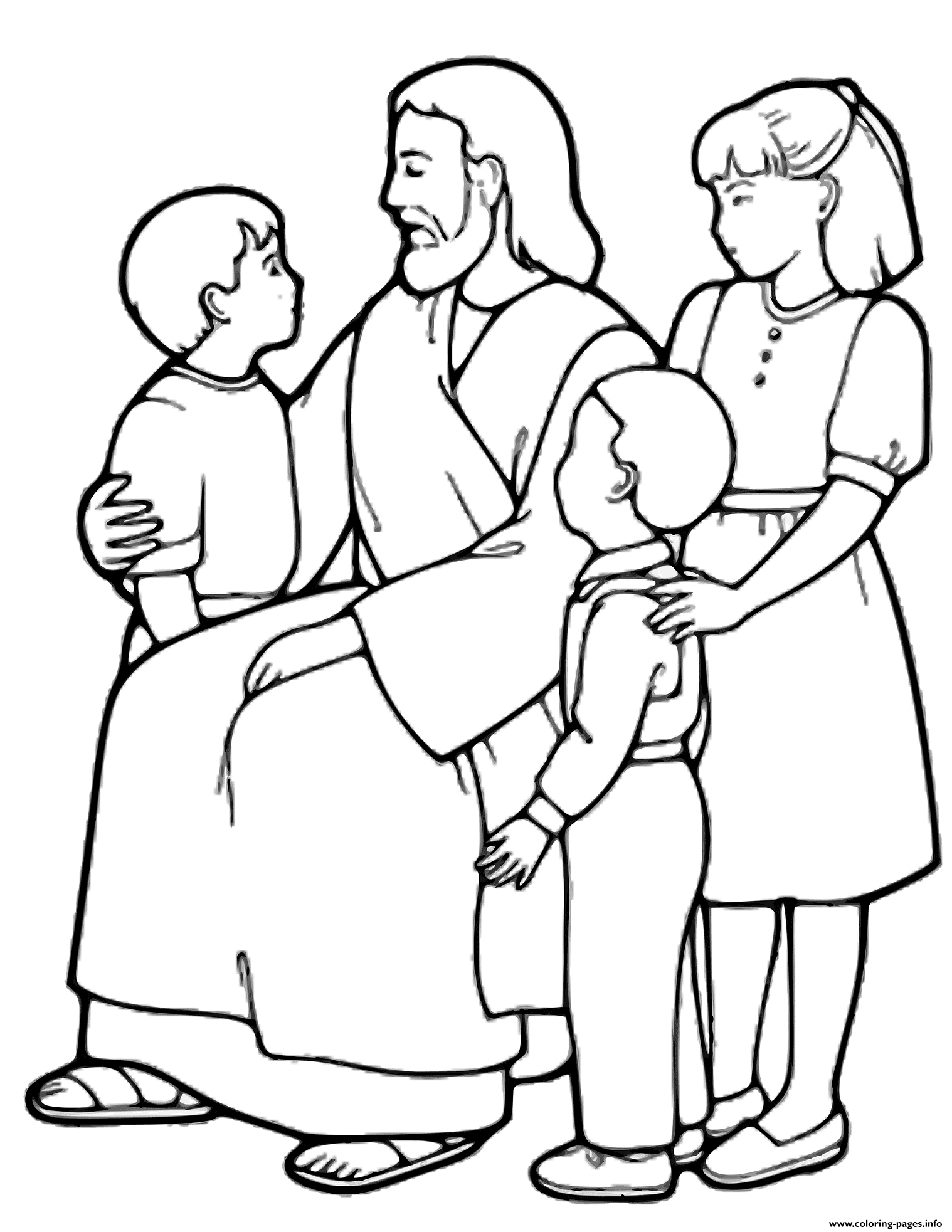The Little Children And Jesus coloring pages