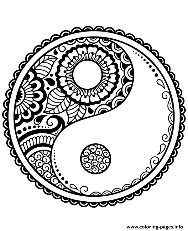 Mandala Symbols Yin Yang Coloring Pages Printable