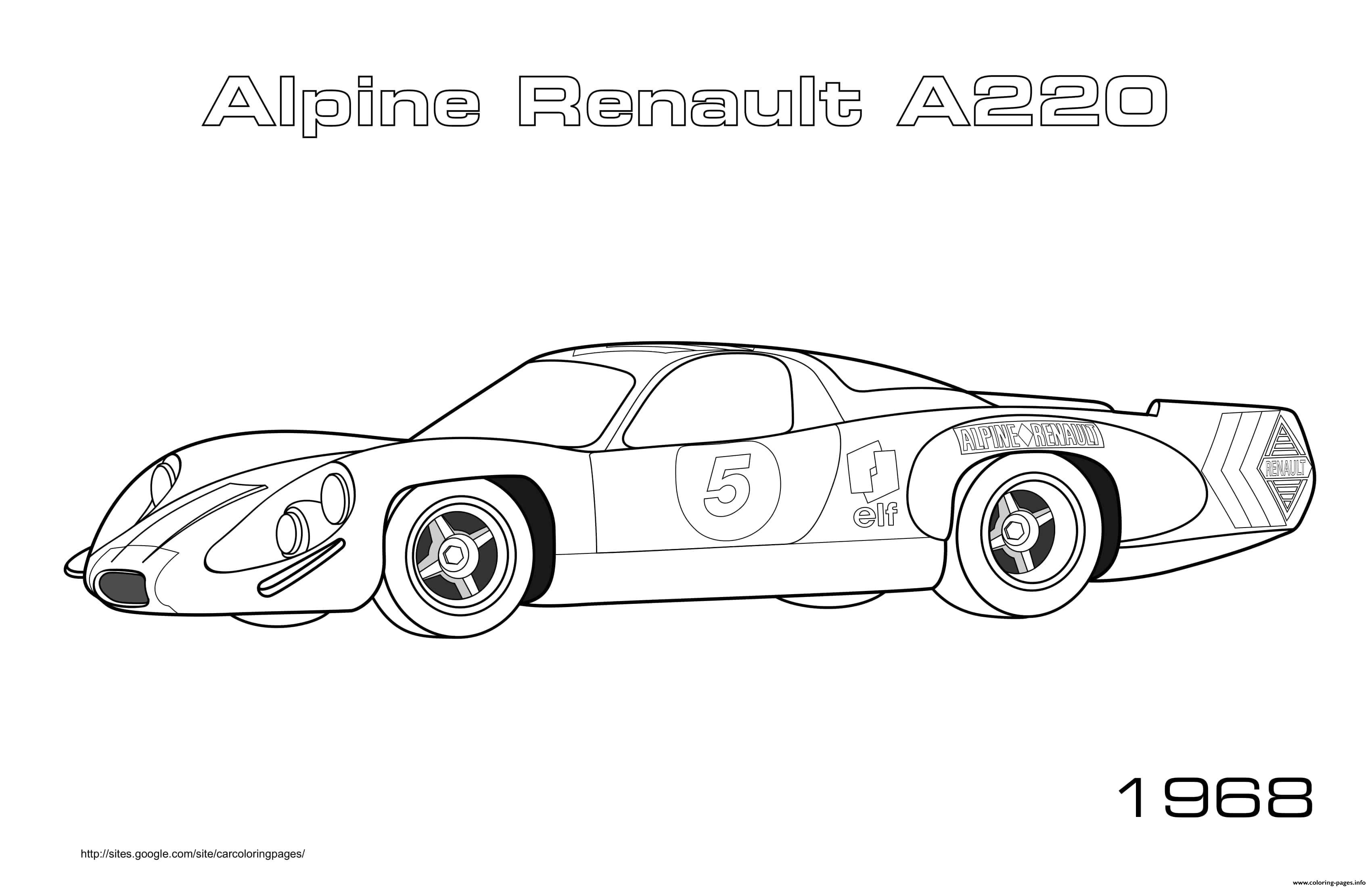 Alpine Renault A220 1968 coloring pages