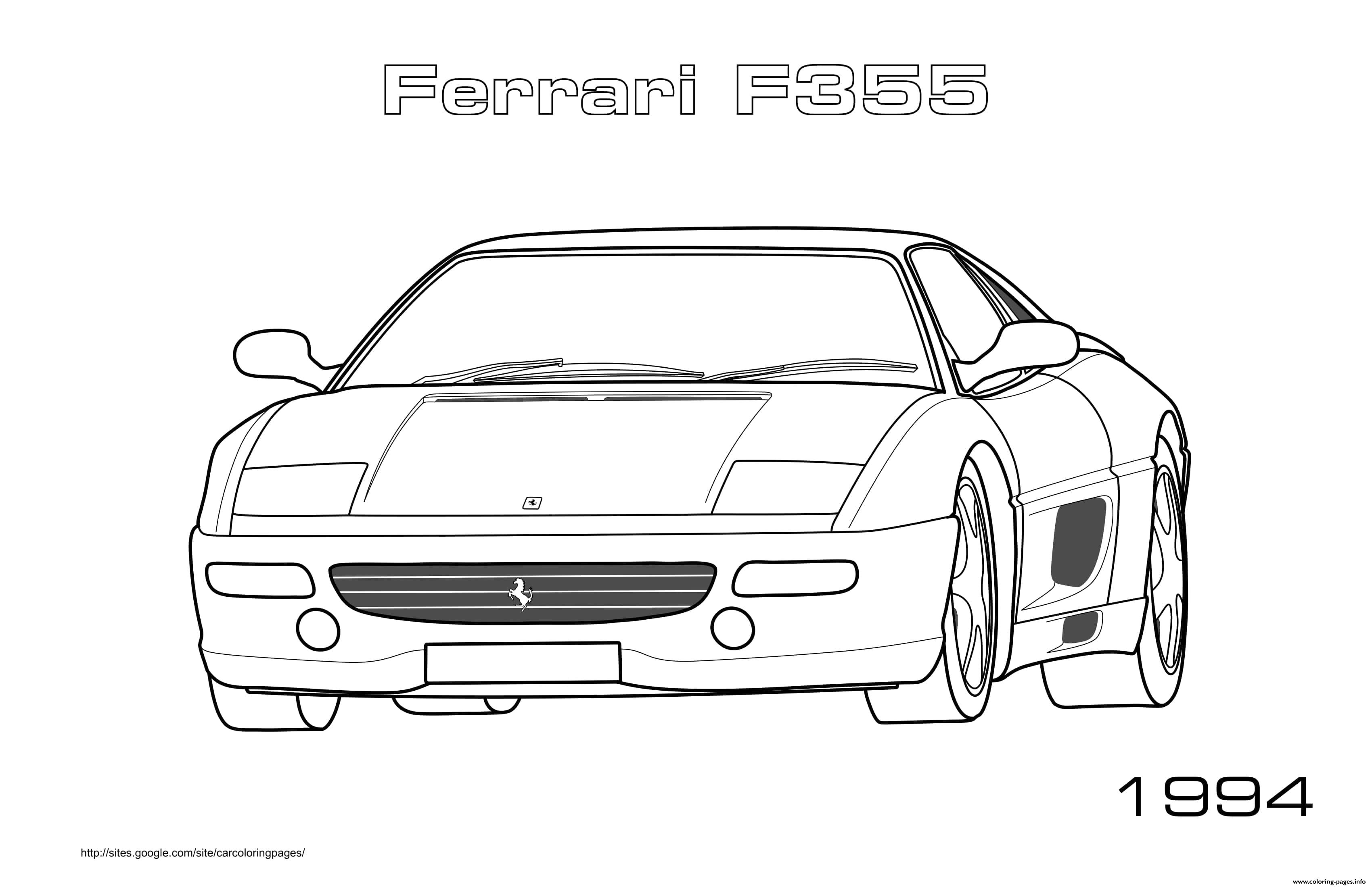 Ferrari F355 1994 coloring pages