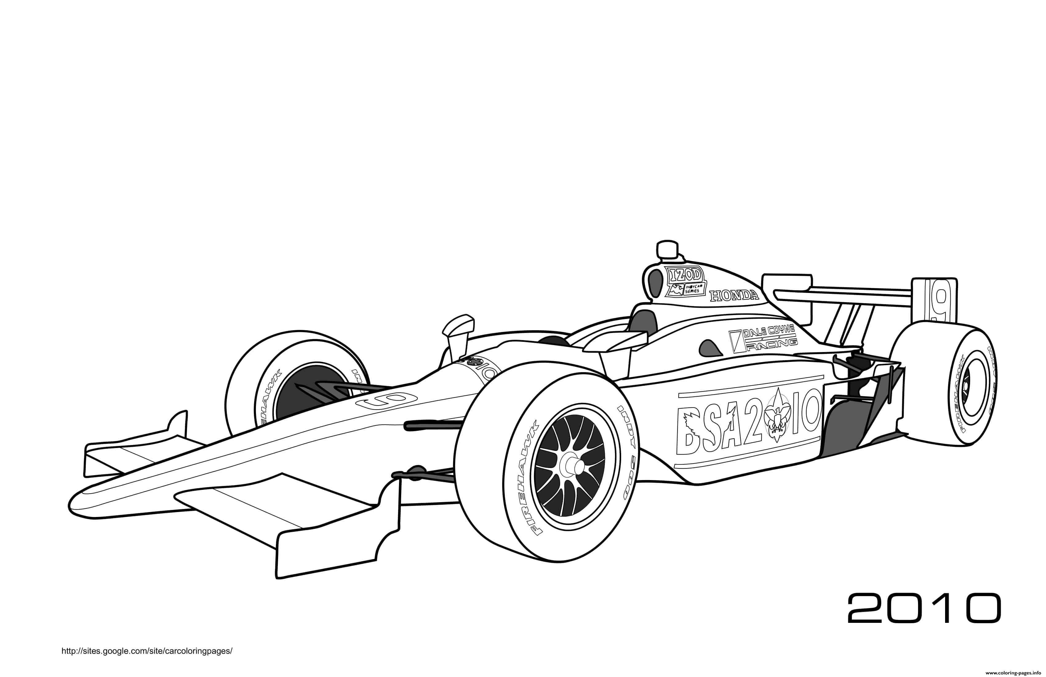 F1 Honda Firehawk Izod Coloring Pages Printable