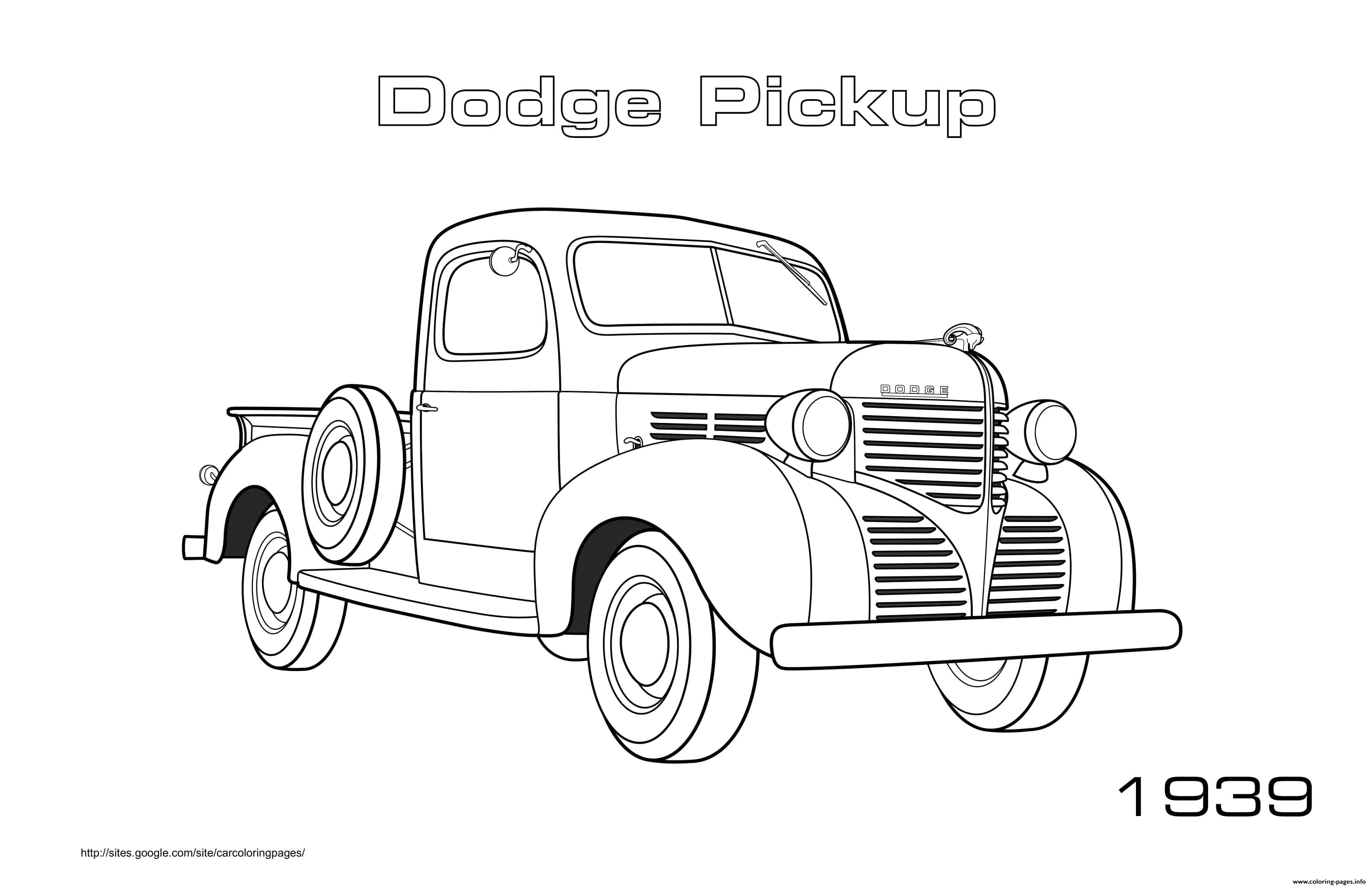 old fashioned cars coloring pages | Old Car Dodge Pickup 1939 Coloring Pages Printable