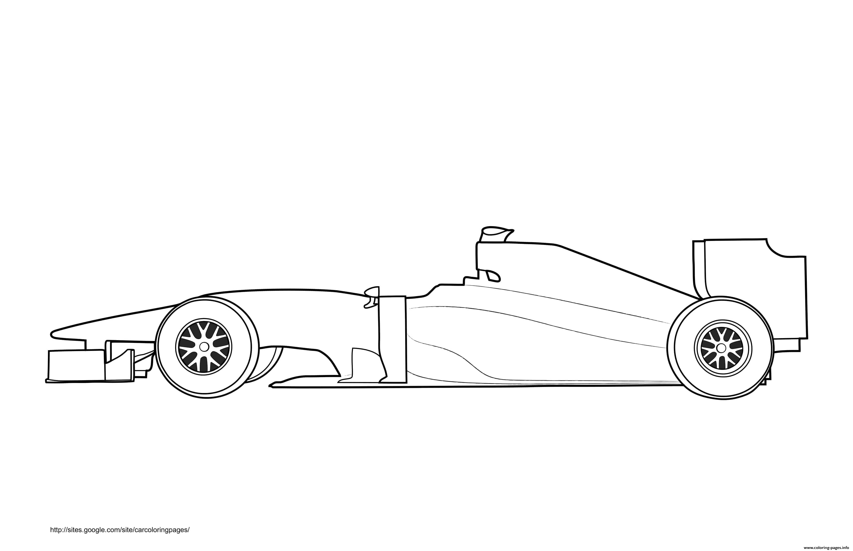 F1 Car White Label coloring pages