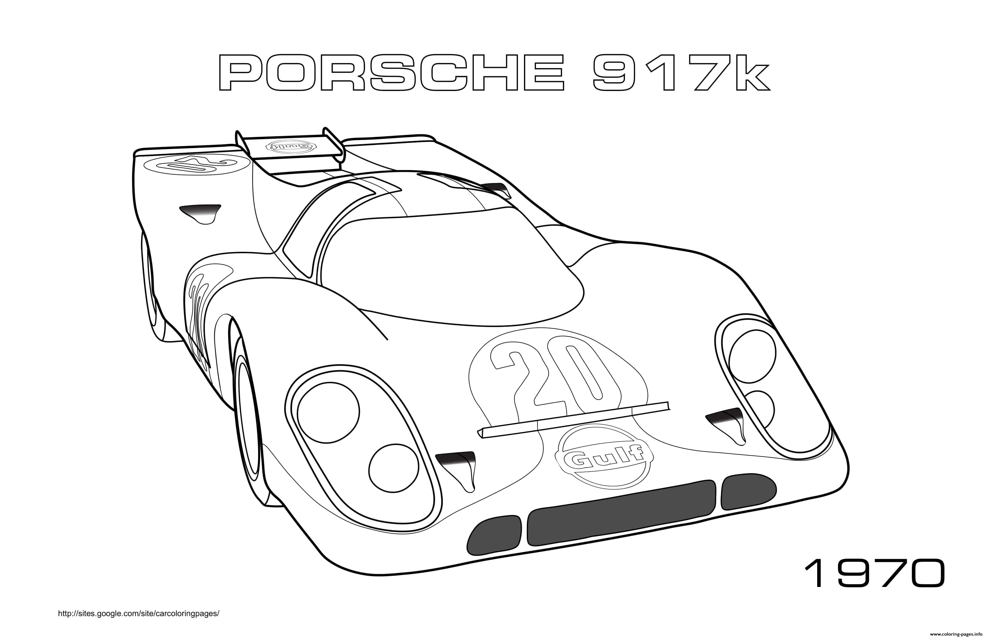 Porche 917k 1970 Coloring Pages Printable