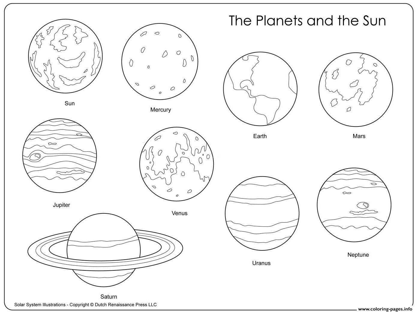 Printable coloring page with solar system. Cartoon sun, earth and ... | 1044x1391