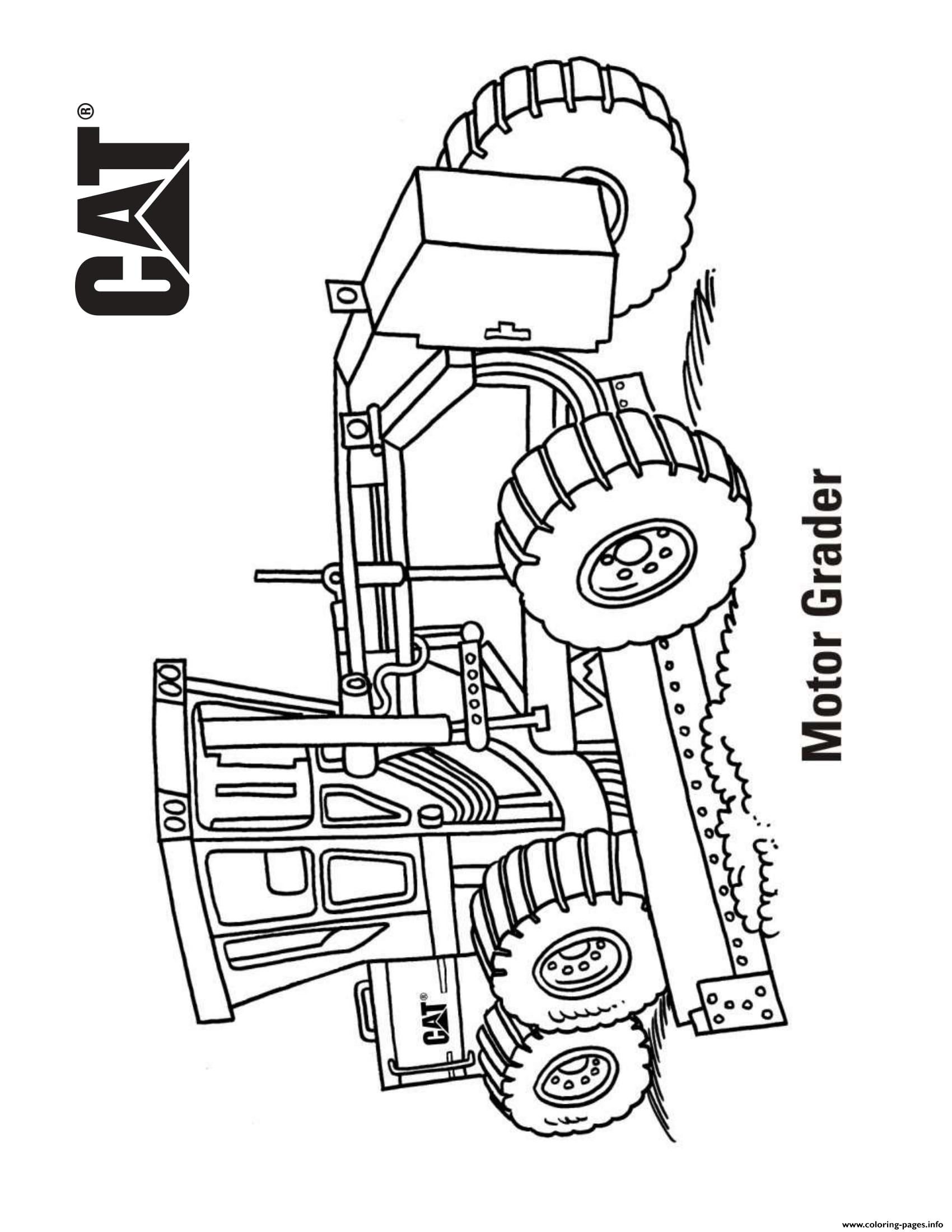 Motor Grader Truck Cat Coloring Pages Printable