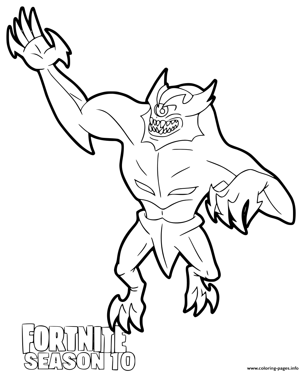 Ice Peak Monster Fortnite Season 10 Coloring Pages Printable