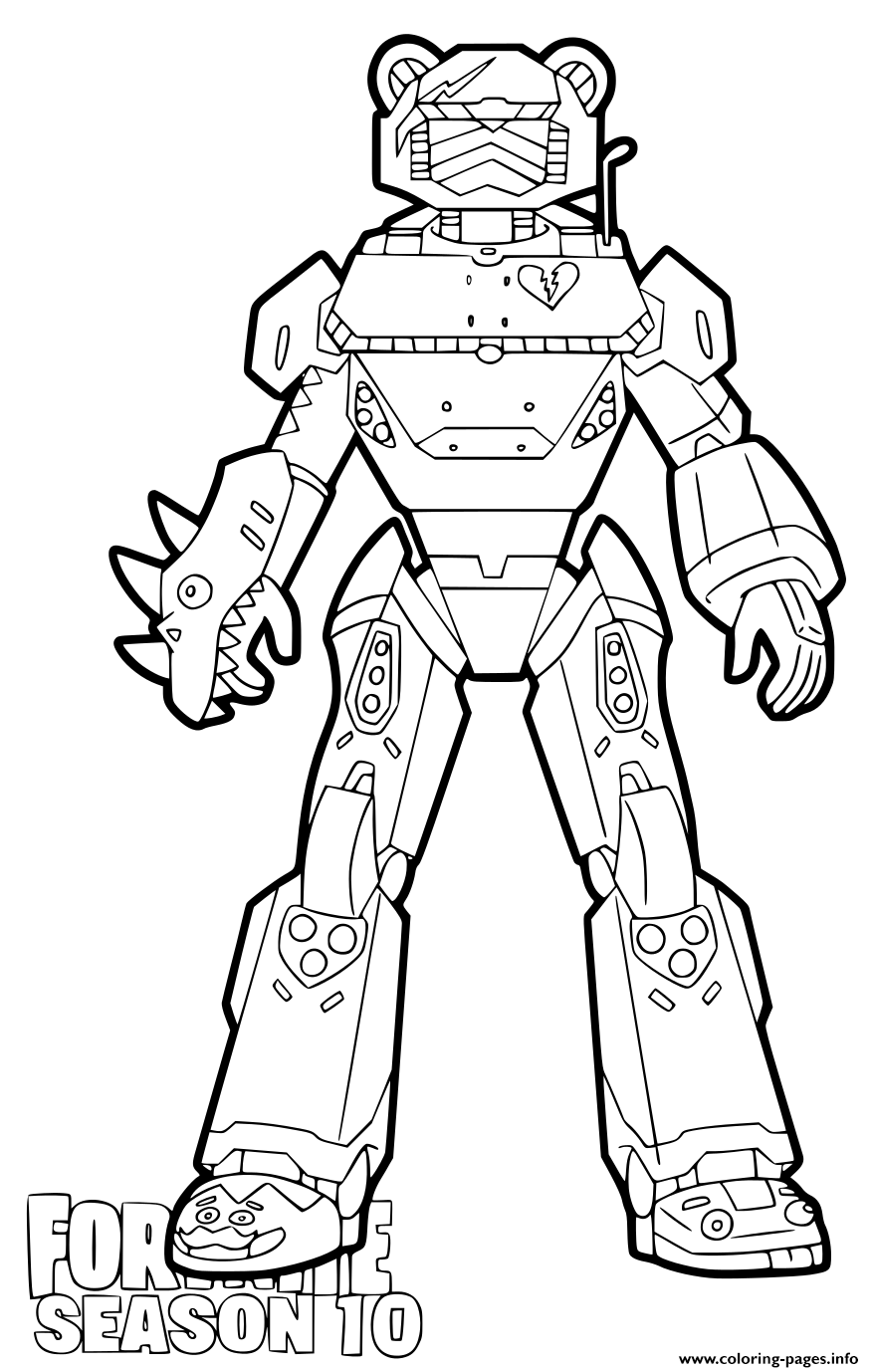 Mecha Team Leader Fortnite Season 10 Coloring Pages Printable