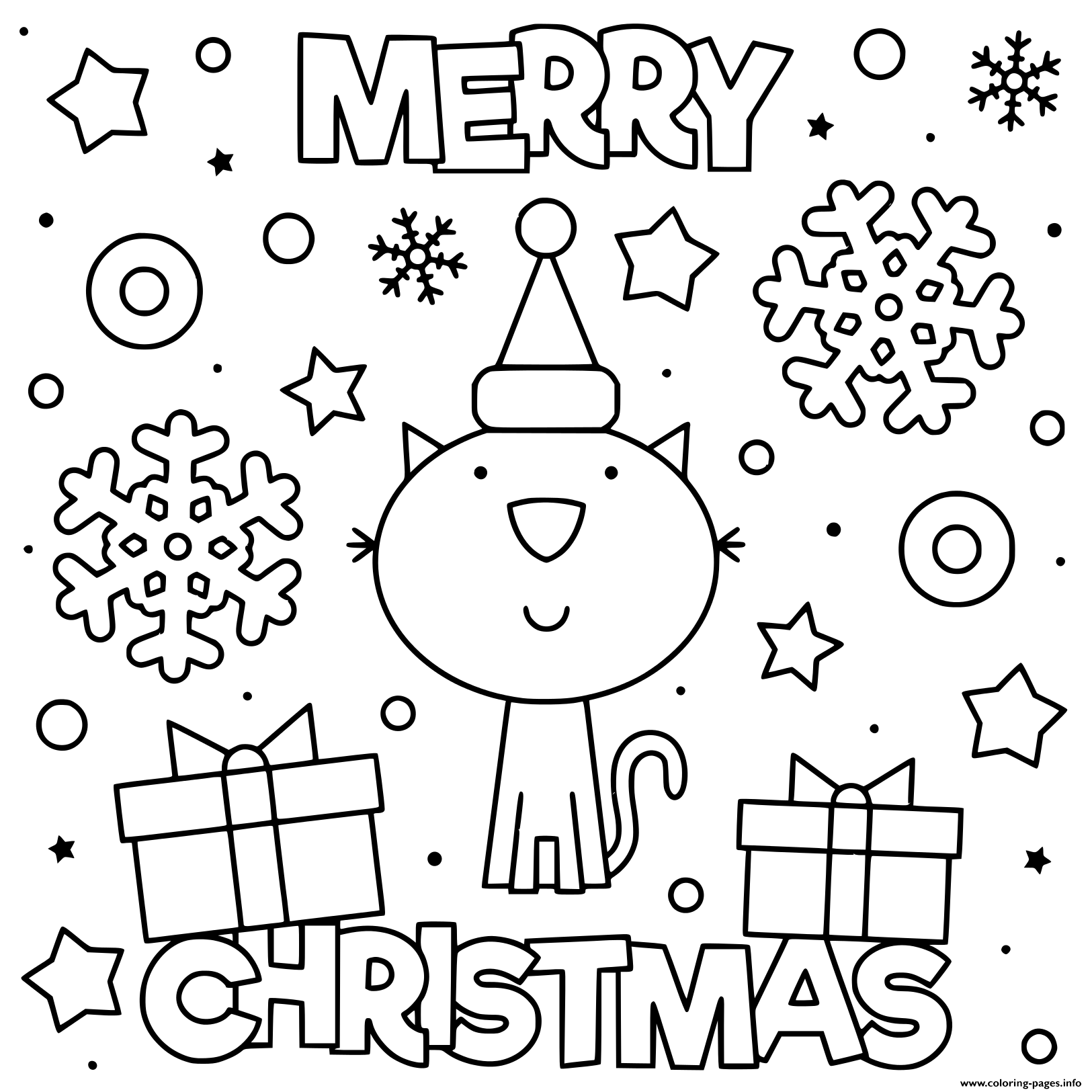 Cute Cat Wish Merry Christmas Coloring Pages Printable