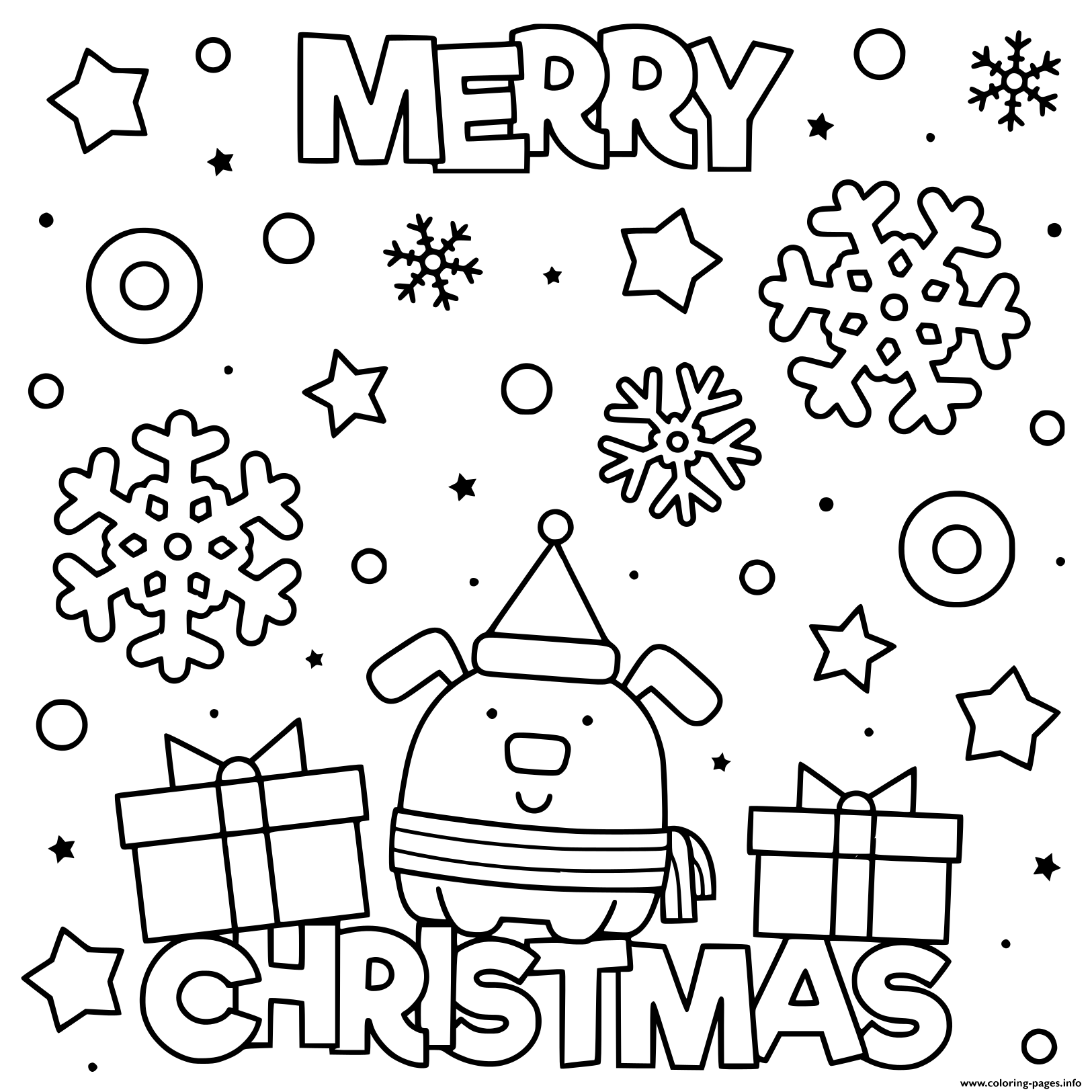 Cute Dog Wish Merry Christmas Coloring Pages Printable