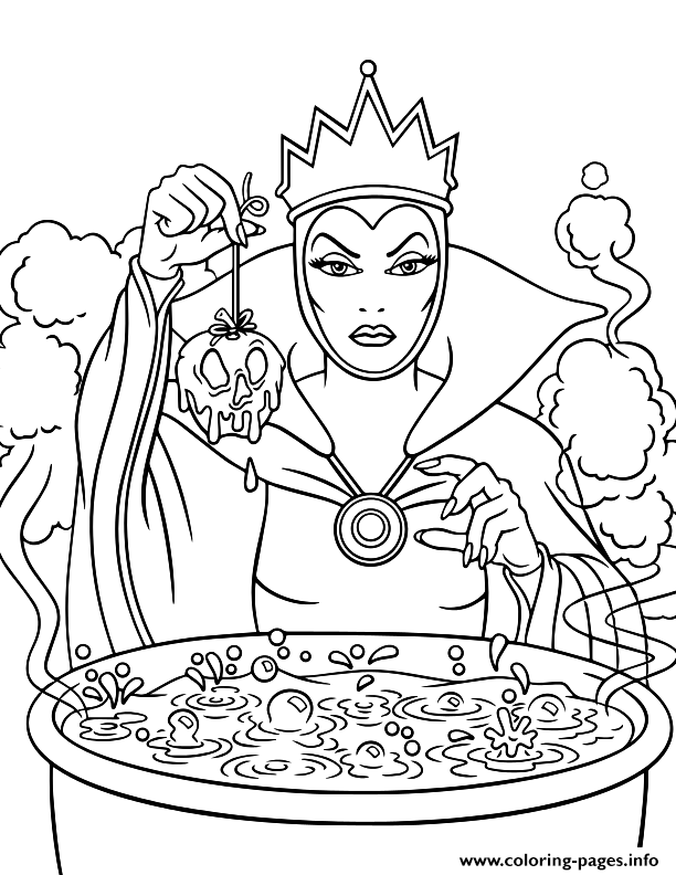 - The Evil Queen Disney Halloween Coloring Pages Printable