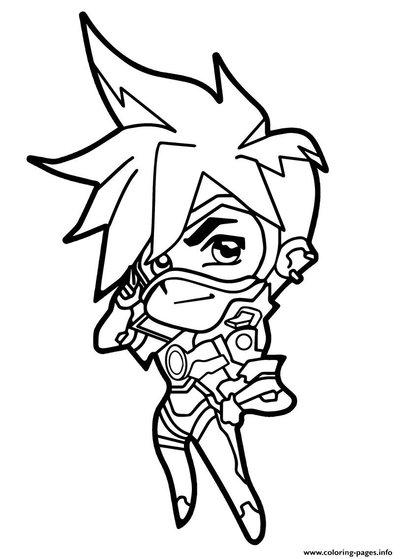 Overwatch Tracer Cute Spray Coloring Pages Printable
