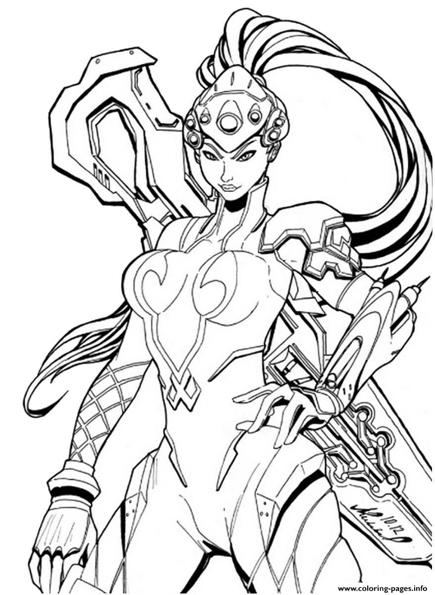 Overwatch Widowmaker coloring pages