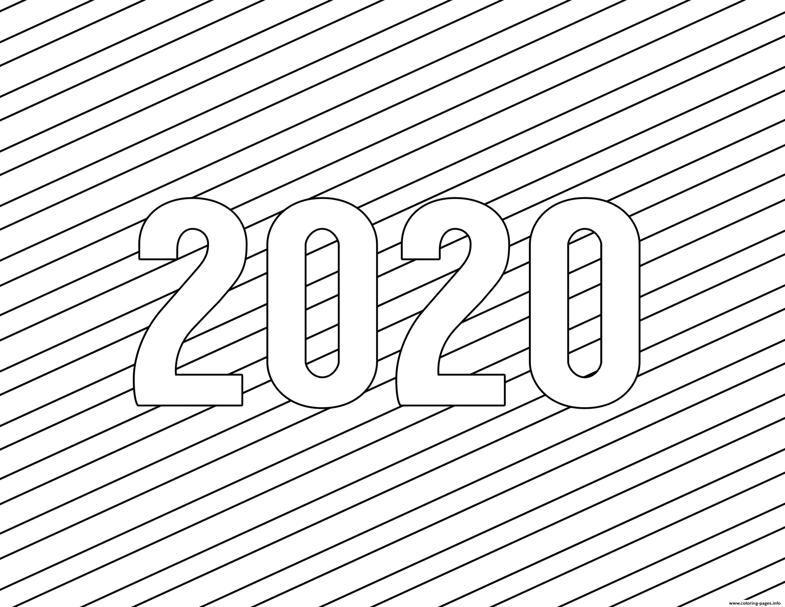 2020 Happy New Year Simple Lines Coloring Pages Printable