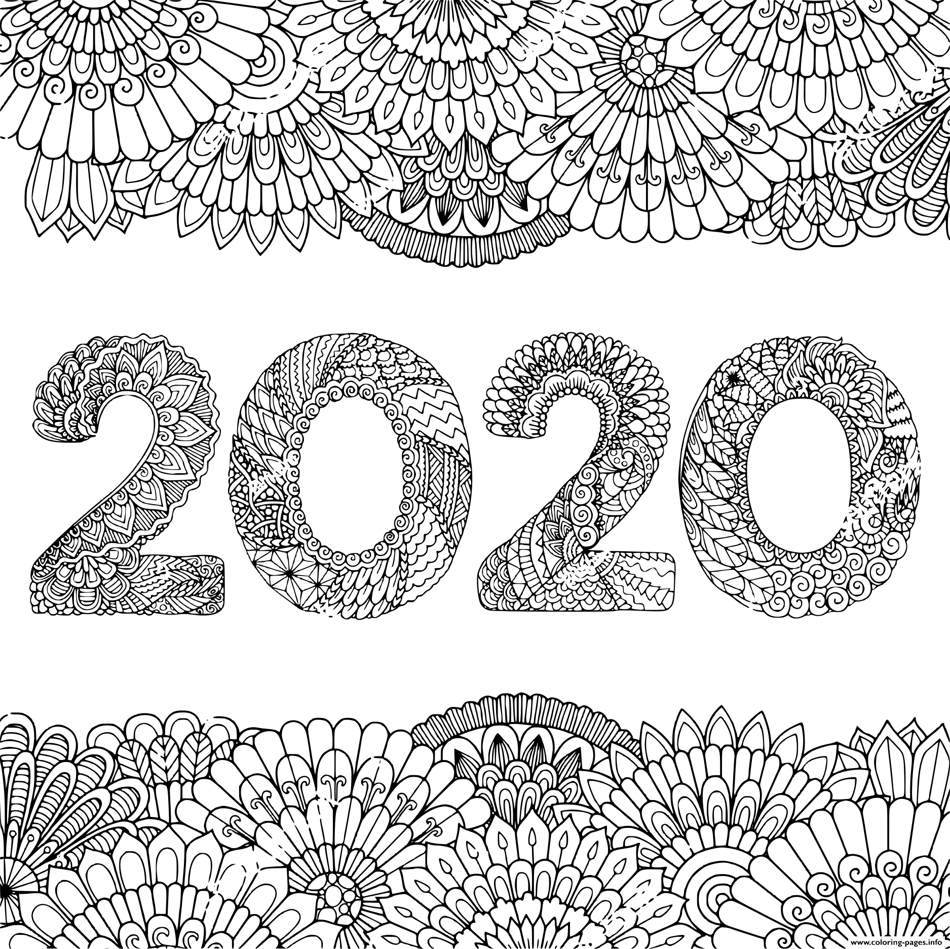 New Year 2020 Inside Floral Frame Adult Coloring Pages ...