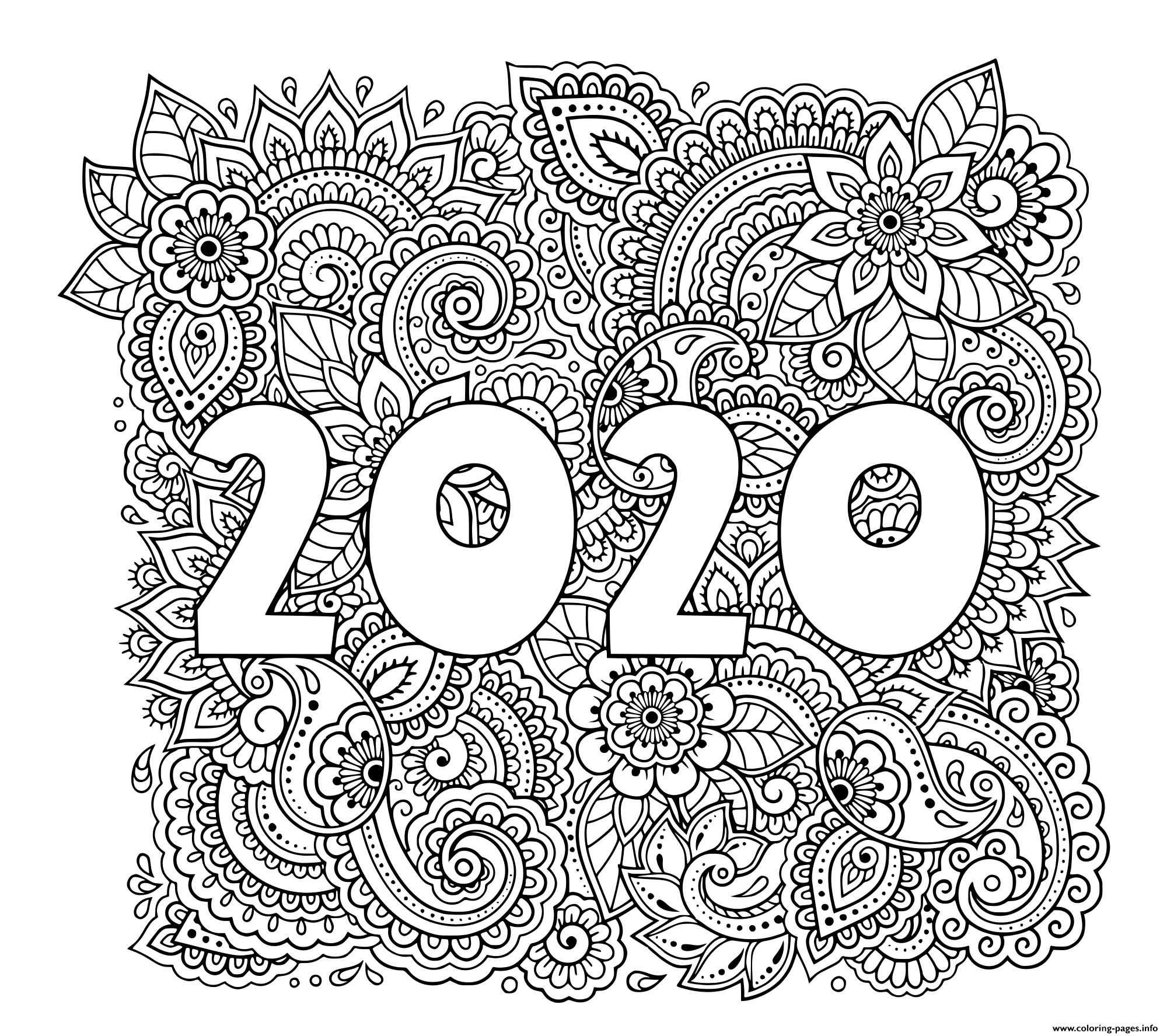 New Year 2020 Highly Detailed Decorative Floral Pattern Coloring