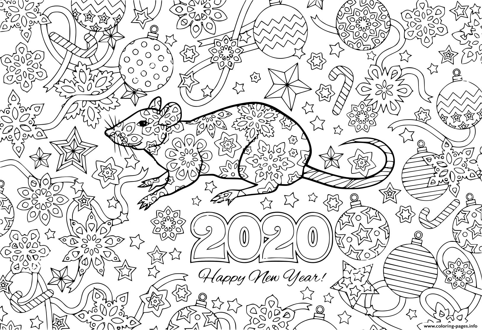 New Year 2020 Rat And Festive Objects Image For Calendar Coloring Pages Printable