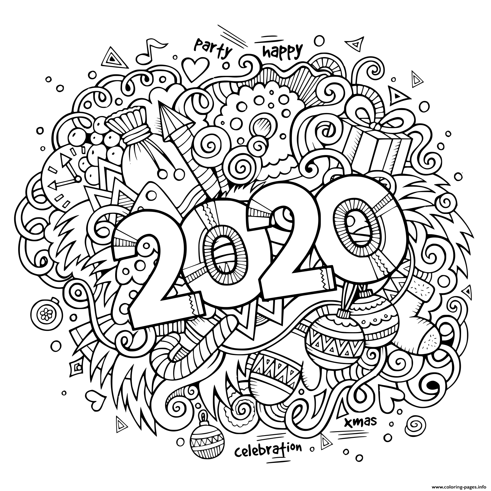 New Year 2020 Doodles Objects And Elements Poster Design ...