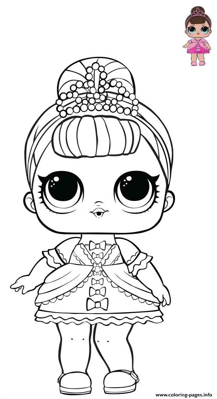 Princess Lol Surprise Pink Dress Coloring Pages Printable