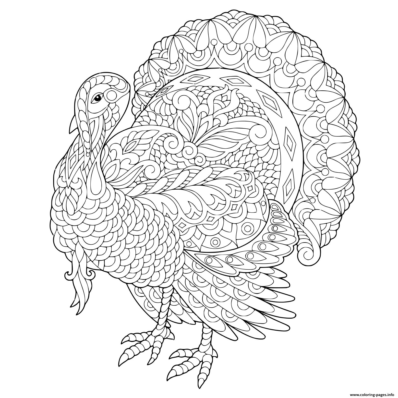 Turkey For Thanksgiving Day Greeting Adult Zentangle coloring pages