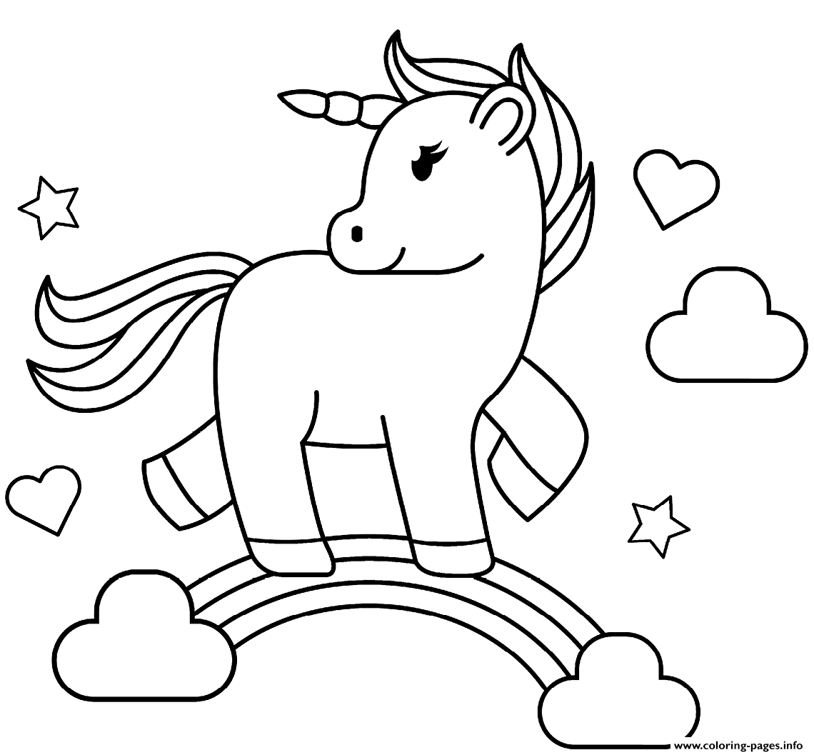 - Rainbow Unicorn Coloring Pages Printable