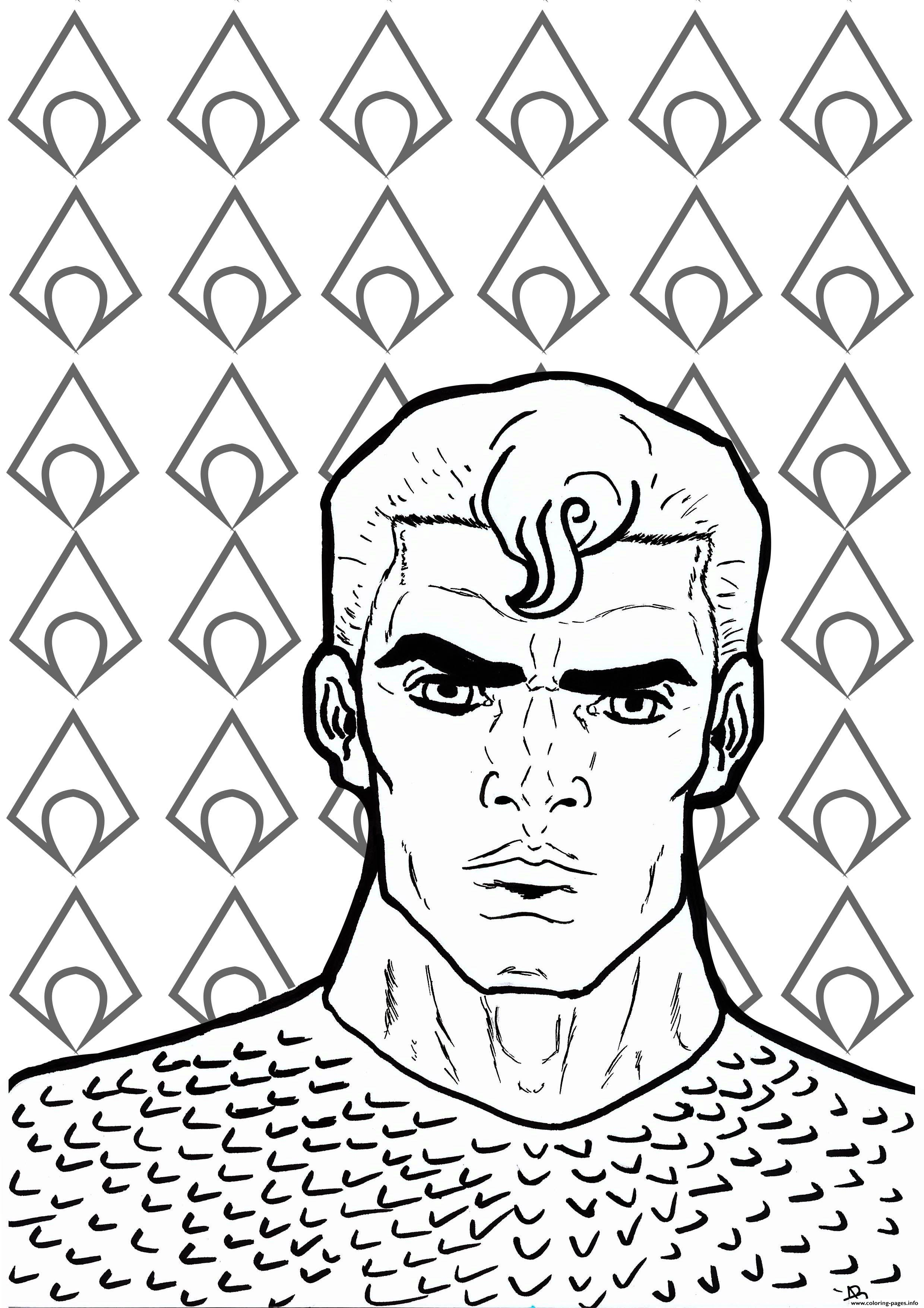 aquaman face fish body coloring pages printable