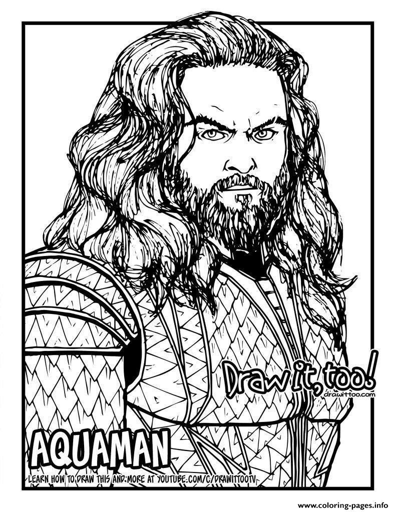 Aquaman Jason Momoa Coloring Pages Printable
