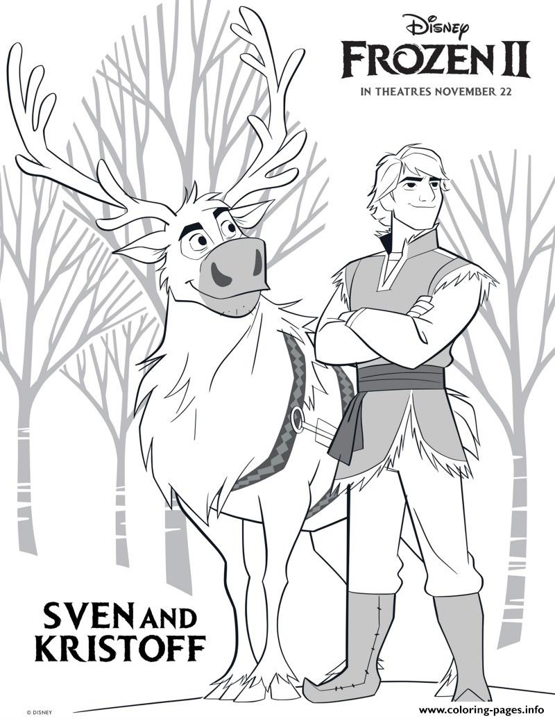 Sven And Kristoff From Frozen 2 Coloring Pages Printable