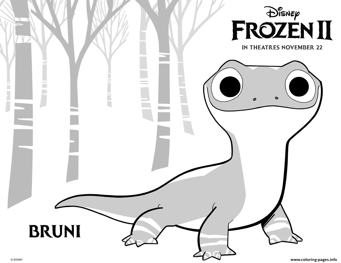 Disney Frozen 2 Bruni Salamander Coloring Pages Printable