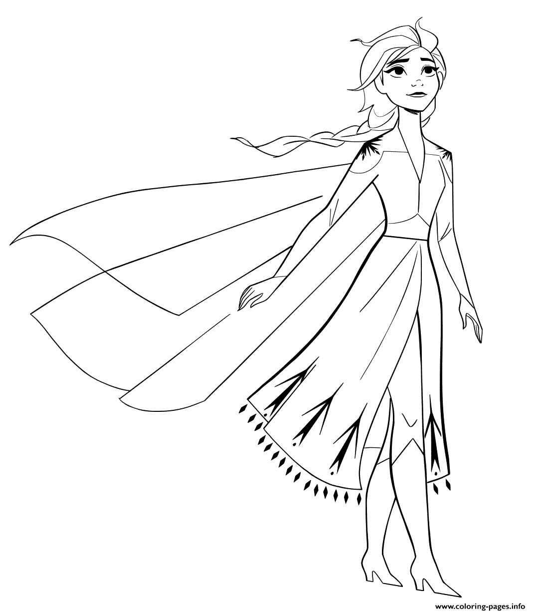 Elsa From New Frozen 2 To Color Coloring Pages Printable