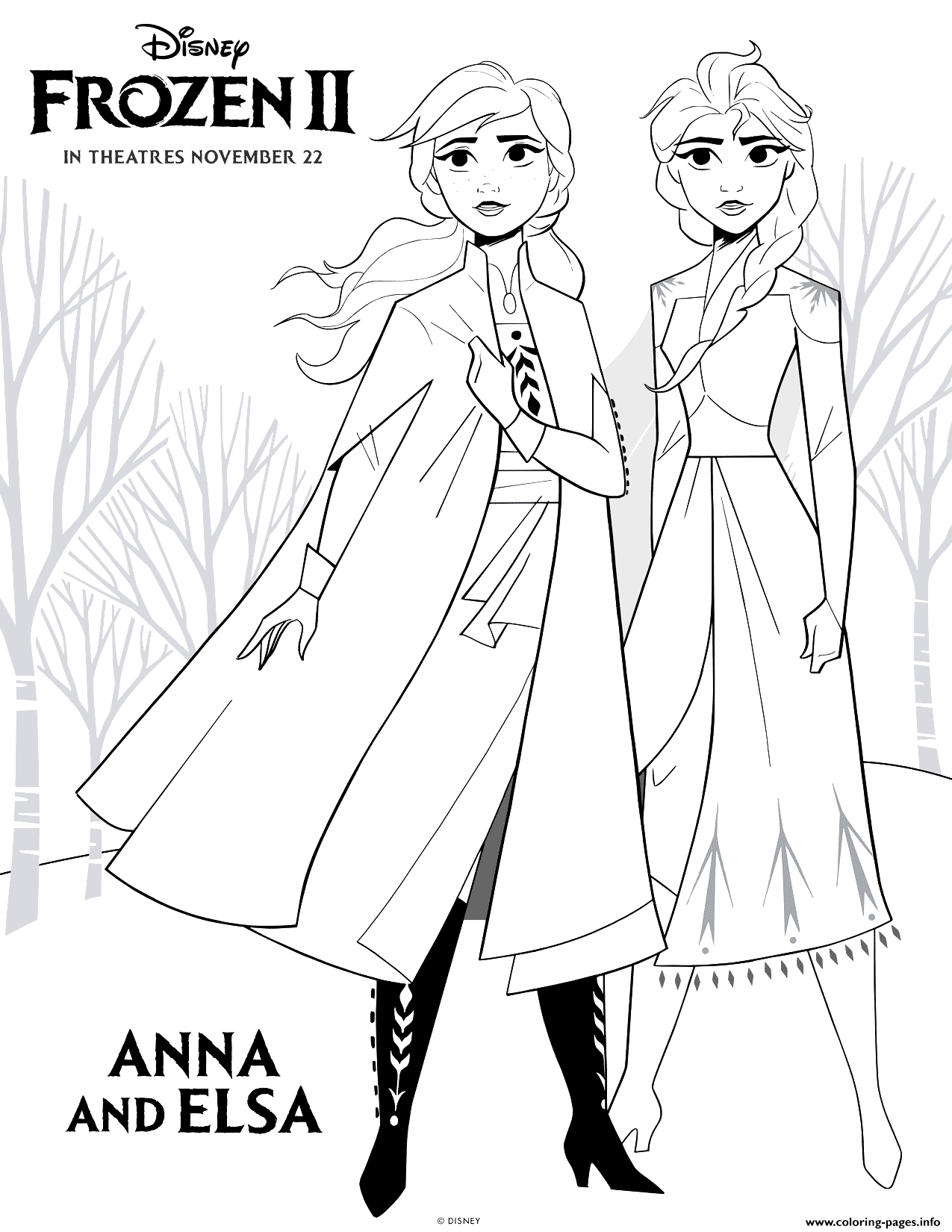 Frozen 2 Anna And Elsa Coloring Pages Printable