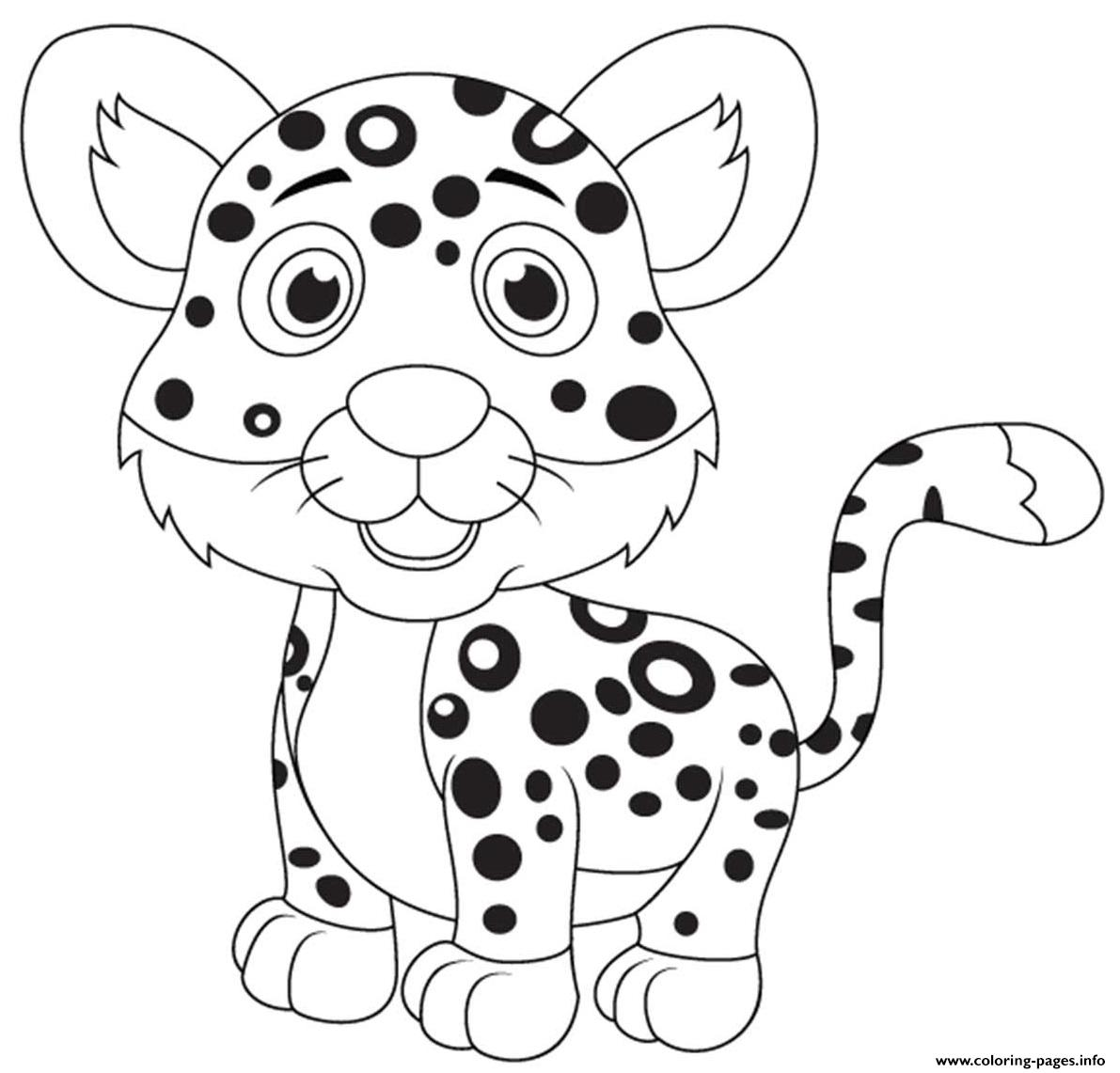 Baby Cartoon Leopard Coloring Pages Printable