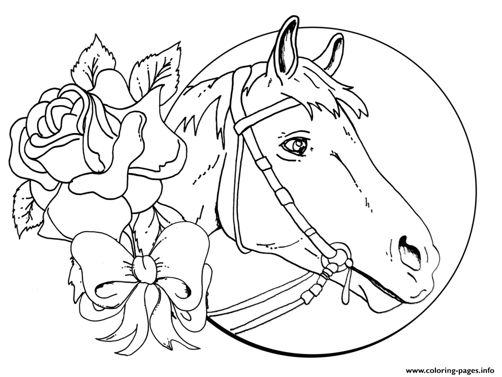 - Beautiful Horse And Rose For Teens Coloring Pages Printable