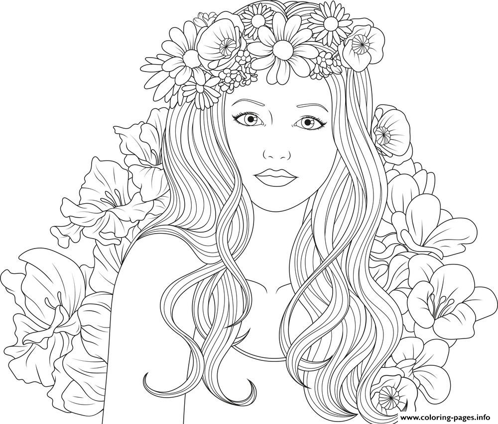 - Cute Girls Adult With Flowers Coloring Pages Printable