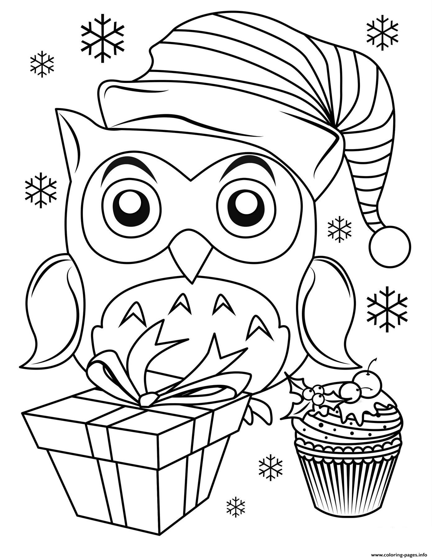 Cute Christmas Owl Coloring Pages Printable