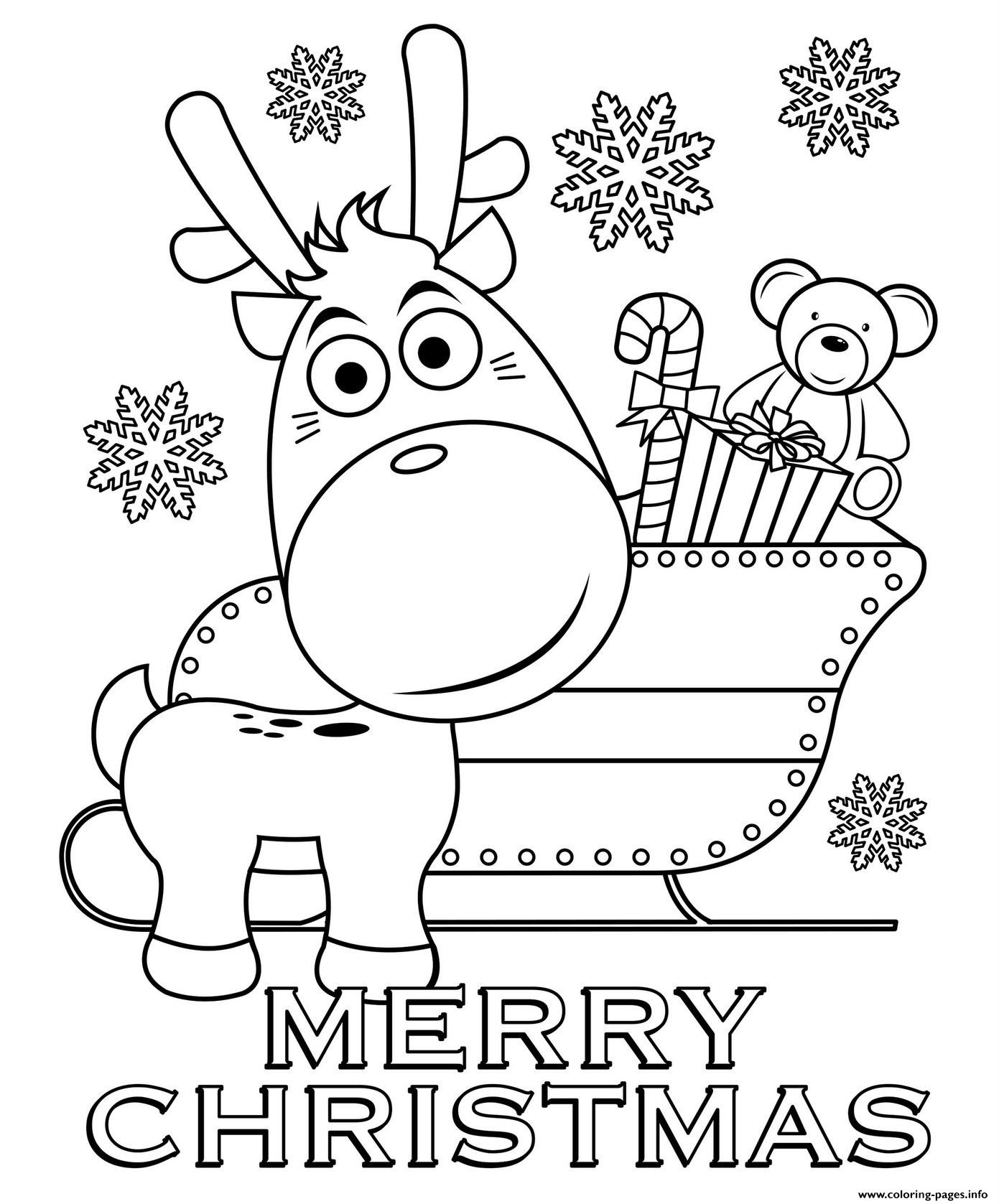 Merry Christmas Reindeer And Sleigh Coloring Pages Printable