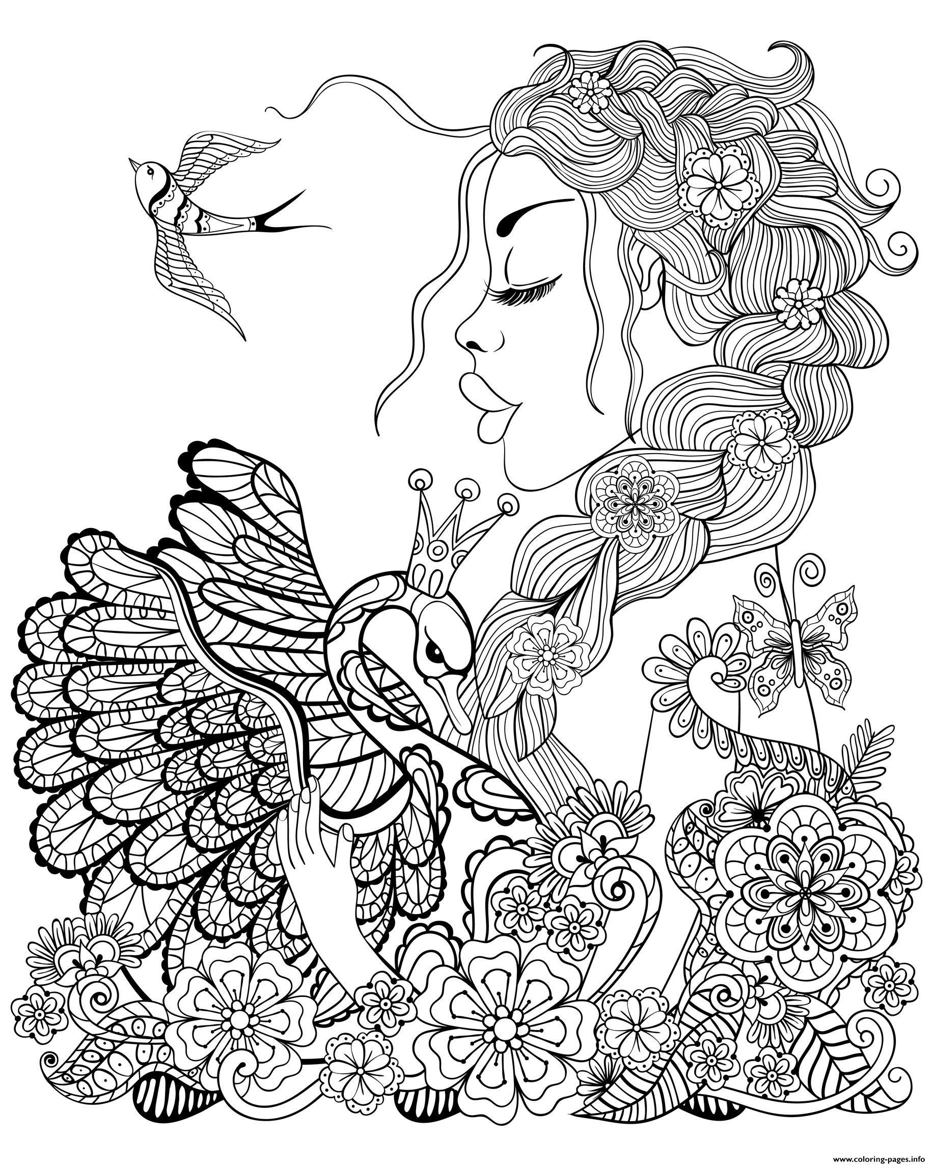 Fairy For Adult Woman Swan And Bird coloring pages