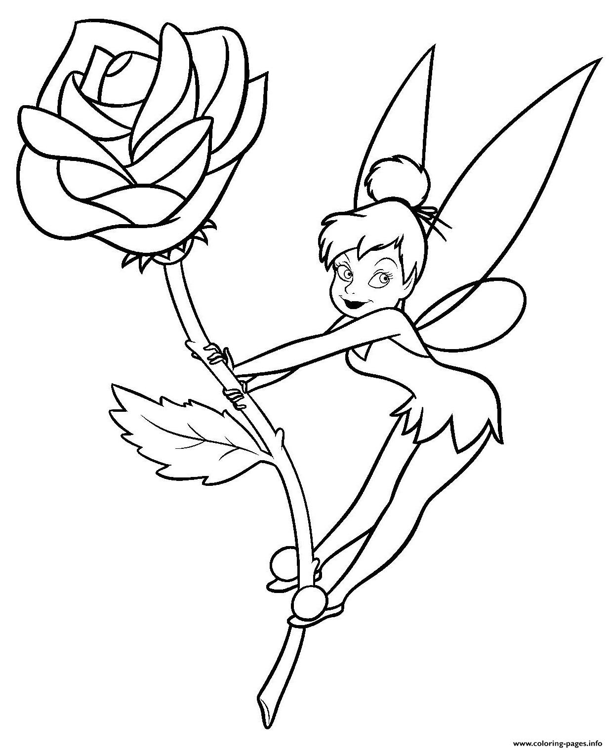 - Tinkerbell On A Flower Rose Coloring Pages Printable