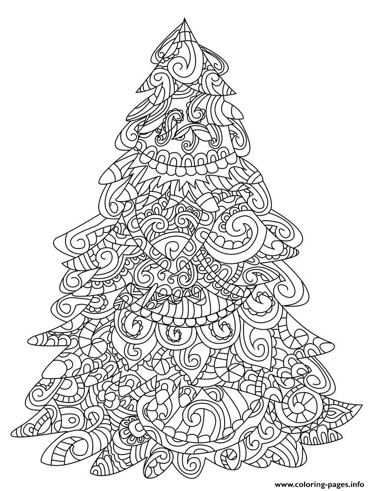 Christmas Tree Adult Difficult Zentangle Coloring Pages ...