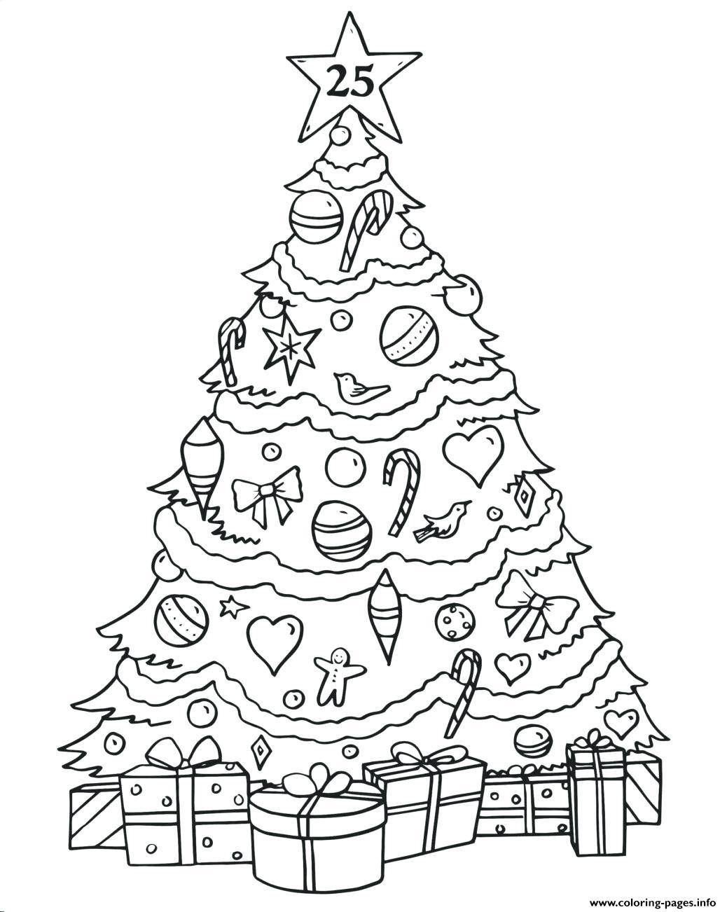Phenomenal Christmas Tree Gifts Coloring Pages Printable