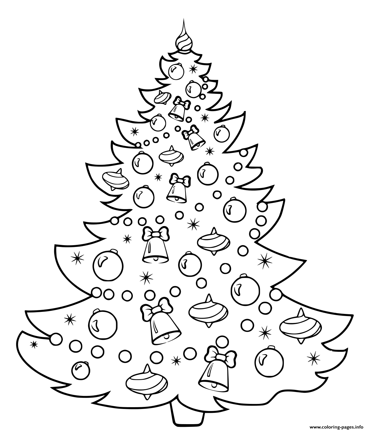 Christmas Tree Cartoon Coloring Pages Printable