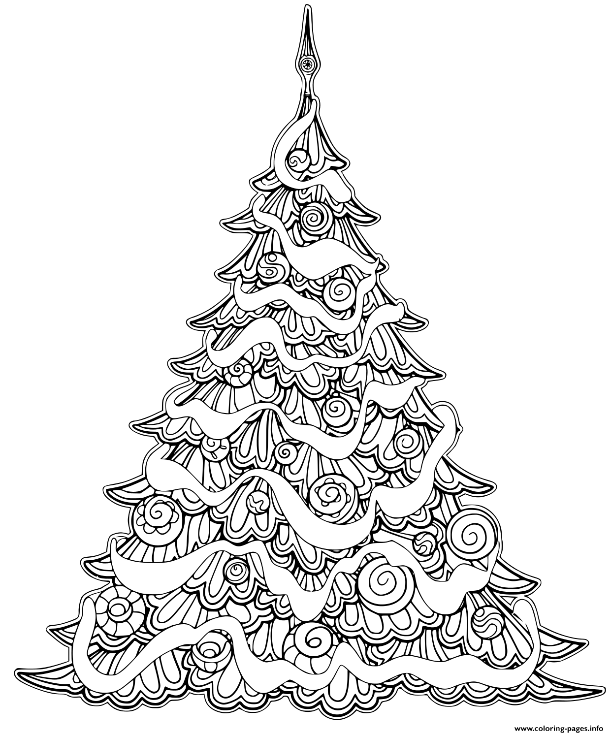 Luxury Christmas Tree Contour Drawing coloring pages