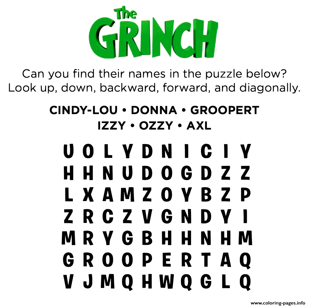 - The Grinch Activity Word Search Coloring Pages Printable