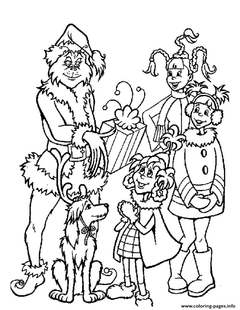- Grinch With Kids Gifts Coloring Pages Printable